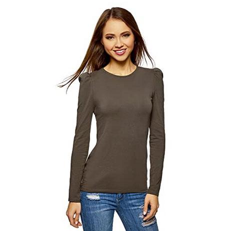 Camiseta de manga larga abullonada