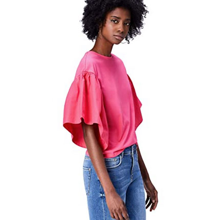 Camiseta cuello redondo con mangas abullonadas